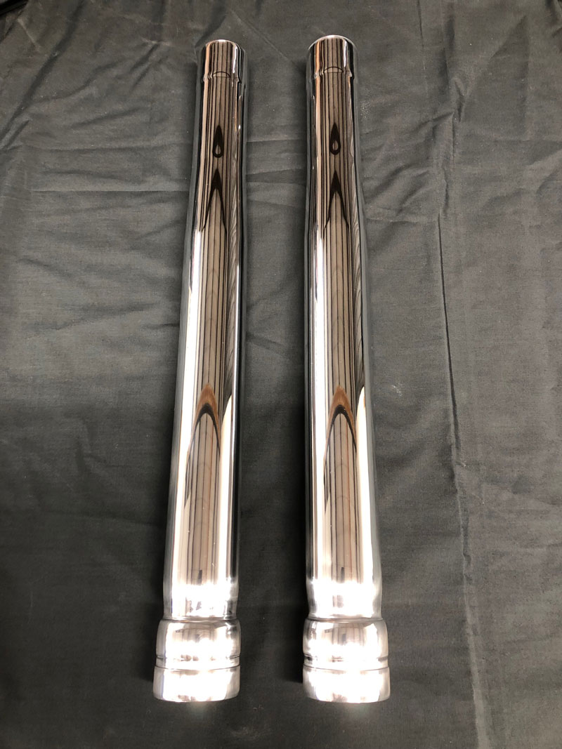 Bright Silver Anodised Motorbike Forks